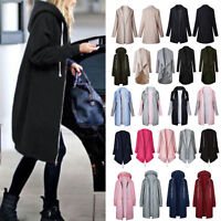 Women Hoodie Zip Sweatshirt Long Coat Jacket Top Cardigan Trench Parka Outerwear