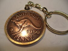 1950 Australian  Penny Coin Set in a Brass Bezel With Screw Top
