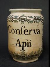 Altes Apothekengefäß Conserva Apii., ca. 1800. Keramik.