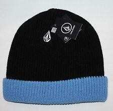 Volcom FULL STONE Two-Toned Men's Black/Blue Cuffed Knit Beanie Hat Sz OS **