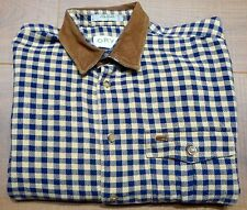 Orvis Mens Blue & White Checkered Button-Front Shirt Suede Leather Collar Large