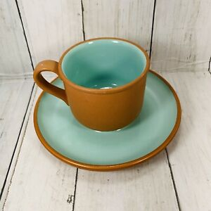 Stoneware Ceramic Cup And Saucers Japan Turquoise Blue Green Tan VTG