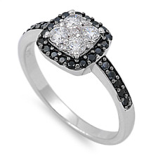 Cluster 925 Sterling Silver Wedding Ring 1.15Ct Women's White & Black Cz