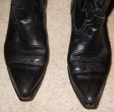 Boots Black Leather Pistolero Snip Toe Cowboy Western Size 10