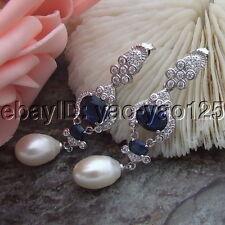 H061714 White rice Pearl CZ Earrings