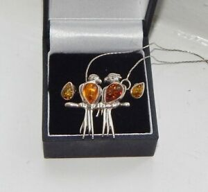 Sterling silver and amber bird necklace and sterling silver amber earring set