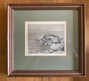 Original Limited Edition Aquatint Etching Otter 41/60 Jean Thomas Framed