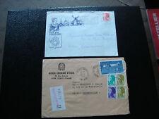 ITALIE - 2 enveloppes 1982 1987 (cy62) french