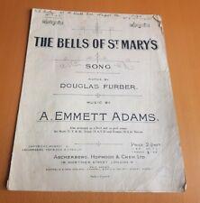THE BELLS OF ST MARYS - Vintage Sheet Music - Douglas Furber - Emmett Adams
