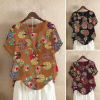 Women Linen Cotton Floral Vintage Tee Shirt Summer Loose Tops Blouse T-Shirt NEW