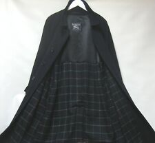 BURBERRY NAVY WOOL CHECK LINED OVERSIZE TRENCH COAT UK M RRP £1200 NET A PORTER