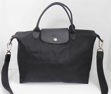 Longchamp Black Nylon Leather LePliage Tote Crossbody Bag