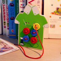 Baby Educational Beads Wooden Lacing Board Toy Sew On Buttons Boys Threading Toy