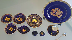 7 LIMOGES PIECES PLUS A FRAUREUTH CUP & SAUCER. WOW. THESE ARE MINT CONDITION.