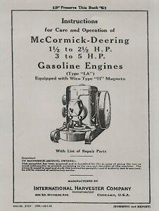 McCormick Deering  Type  LA Operator's Manual