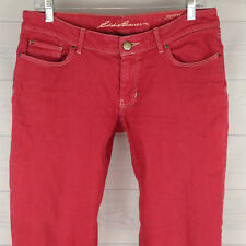 Eddie Bauer Women Sz 8 STRETCH Modern Straight Low Rise Specially Dyed Red Jeans