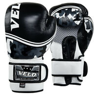 VELO Leather Boxing Gloves Muay Thai Training Professional Sparring Punching Bag Mitts Kickboxing Fighting Dull Shine Black