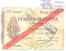 BILLETE DE 100 PESETAS AÑO 1936 GIJON ( roturas , resello ACHEIA ) ( MB11282 )