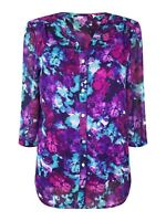 New Ex M&S Ladies Floral Chiffon Multi 2 Piece Blouse Top 3/4 Sleeve Size 8 - 18