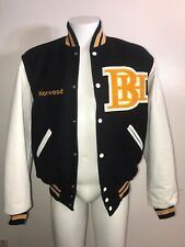 Holloway Leather Wool Lettermans Varsity jacket BH Norwood Black Gold White WoW