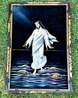 Jesus Christ Velvet Painting Vintage Framed 36x24 Religious Spiritual Decor