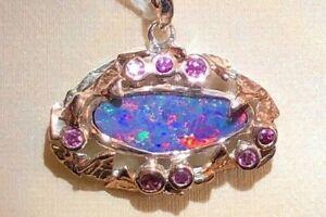 Old Forest Estate class Australian Opal Blue RED Pool Pendant Rose Gold Ruby