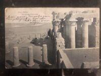 1909 Cairo Egypt RPPC Postcard Cover Temple Of Kom Ombo To Belgium