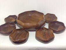 Vintage Teak Mid Century Modern Wooden Bowls Salad Set of 7 Wavy Scalloped Edge