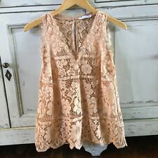 S New Anthropologie Battenburg Lace Blush Blouse Tank Top Women's Size SMALL