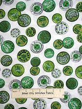 St Patricks Day Irish Shamrock White Cotton Fabric QT 23550-Z Wee Bit Irish YARD