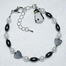 Unique Magnetic Hematite Hearts Cute Lampwork Glass Penguin Charm Bracelet Gift
