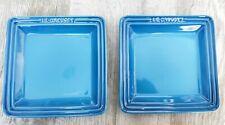 Brand New Le Creuset 16cm square plate set of 2 ~ marseille blue