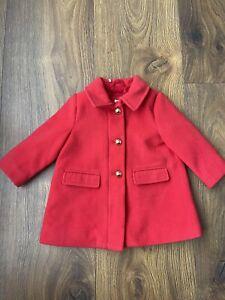 GAP Baby Girls Red Zip Coat Jacket Size 9-12 Months