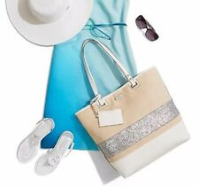 NINE WEST Natural Silver gliter TOTE  Shoulder Hobo Beach Bag
