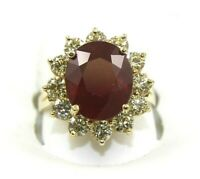 Oval Red Ruby & Diamond Halo Solitaire Ring 14k Yellow Gold 9.06Ct