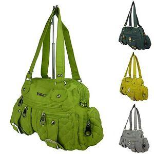 Stofftasche, Handtasche Stoff, Schultertasche, langer Tragegurt, Fächer 68015-4