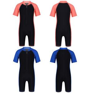 Jungen Kurzarm Badebekleidung Einteiler UPF 50+ Schwimmanzug mit Reißverschluss