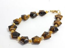 Tigers Eye and Citrine Bead Bracelet (EA5502) hand cut polished craft