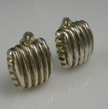 Estate Vintage Signed BAYANIHAN Thick Ridged Sterling Silver Clip On Earrings