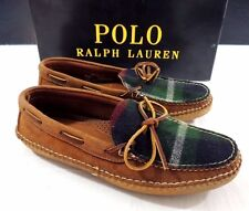$450 Polo Ralph Lauren Aaric Rugged Suede Plaid Moccasins Leather USA Shoes 12