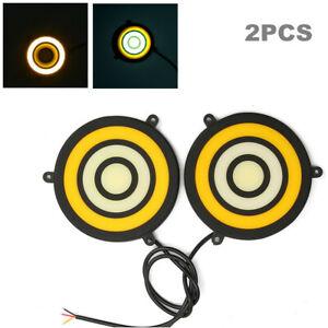2X LED Turn Signal COB Car Daytime Running Light Driving Fog Lamp white + yellow