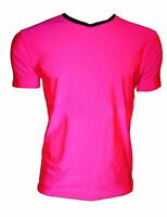 Men's Neon UV Bright Lycra Pink V Neck Top T-Shirt Party Dress Up Club Rave
