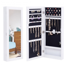 Mirrored Jewelry Armoire Wall Mount Full Size Mirror Over The Door White Storage