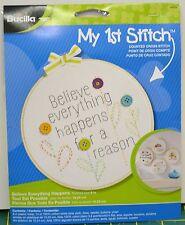 "Bucilla My 1st Stitch Cross Stitch Kit w/Hoop 6"" (15.25cm) ""BELIEVE EVERYTHING"""