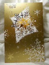 Holiday Seasonal Card Christmas Gold Snowflake White Greetings Post Vintage