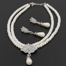 Lady Jewelry Double Pearl Chains Rhinestone Pendent Necklace Earrings Drop Set