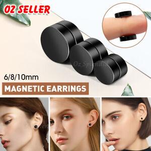 Magnetic Earring No Piercing Black Earrings Stud Mens Women Fake Round Jewellery
