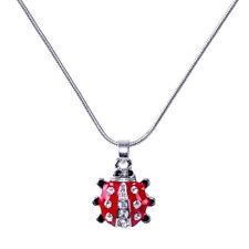 "Ladybug Charm Pendant Necklace - Enamel - Sparkling Crystal - 17"" Chain"