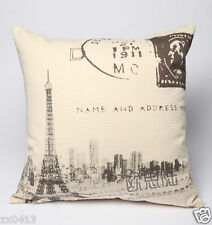 45cmX45cm FRENCH STYLE EIFFEL TOWER LINEN LOOK COTTON CUSHION COVER PILLOW CASE