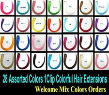 20pcs/Lot Colorful Hair Extensions Highlight Hairpieces Clip in Hair Extensions